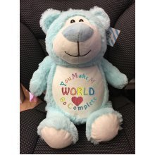 Pale Blue Teddy - Personalised With Name, Message or Birth Date