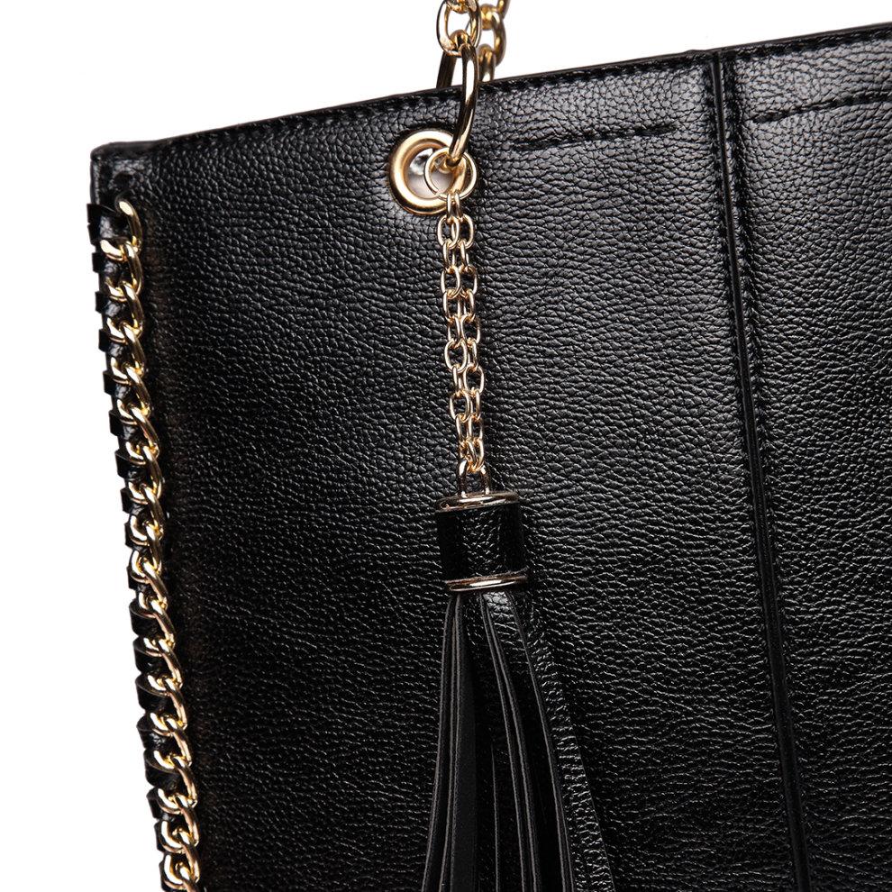 d06181c136 ... Miss Lulu Women Designer Luxury Shoulder Bags Female Fashion PU Leather  Handbags Ladies Chain Tassel Tote ...