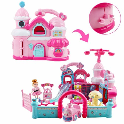 deAO 2 IN 1 Deformable Doll House Playset Pretend Play House Toy Best Gift for Girl Kids (Happy Castle)