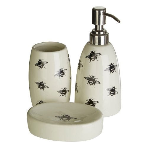 Bee Soap Dish, Tumbler & Dispenser | 3pc Bathroom Accessory Set