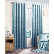 Velva crushed velvet duck egg blue eyelet curtains