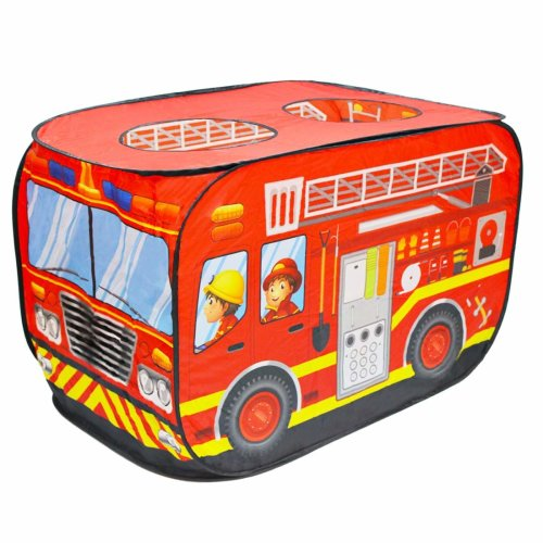 deAO Fire Engine Foldable Play Tent –Children Play House Indoor Outdoor Play Toy Great Gift for Girls Boys 3 4 5 Years Old