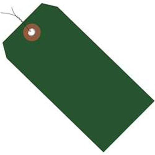 Box Partners G26061W 6.25 x 3.12 in. Green Plastic Shipping Tags - Pre-Wired - Pack of 100