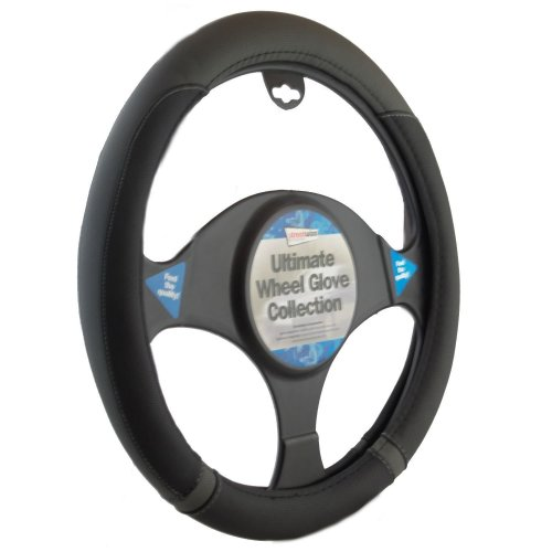 Black And Grey  Steering Wheel Cover Leather Look Universal 37-39cm