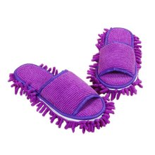 Creative Detachable Mop Slippers Floor Cleaning Mopping Shoes Purple