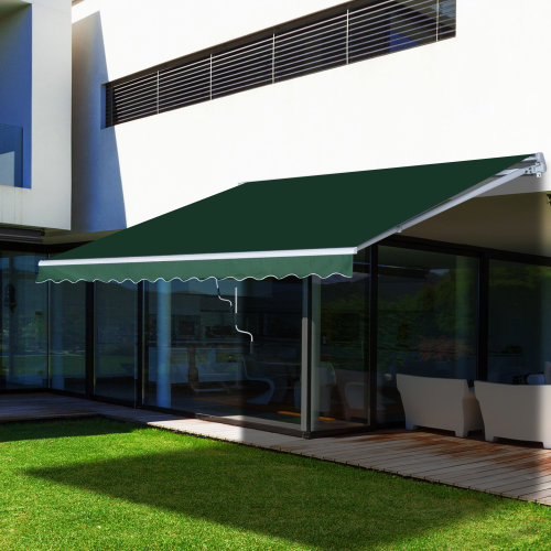 Outsunny Retractable Awning, 4x2,5 m-Green