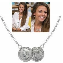 Silver Tone Double Lucky Coin Pendant Necklace Sixpence Celebrity UK
