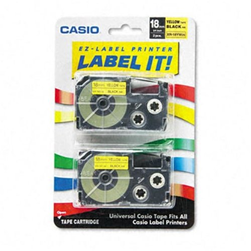 Casio XR18YW2S Tape Cassettes for EZ-Label Kl100/780/7200/8100/c500  3/4w  BLK/YW  2 Pack