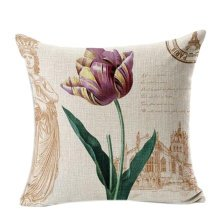 Home/Office Decorative Pillowcase Cotton Linen Cushion Cover Sweet Flowers ,No.9
