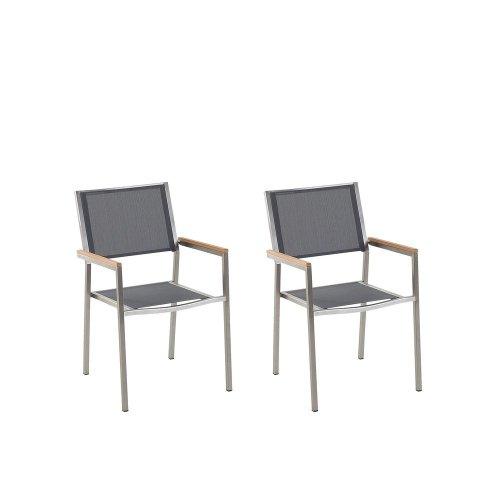Set of 2 Garden Chairs Grey GROSSETO