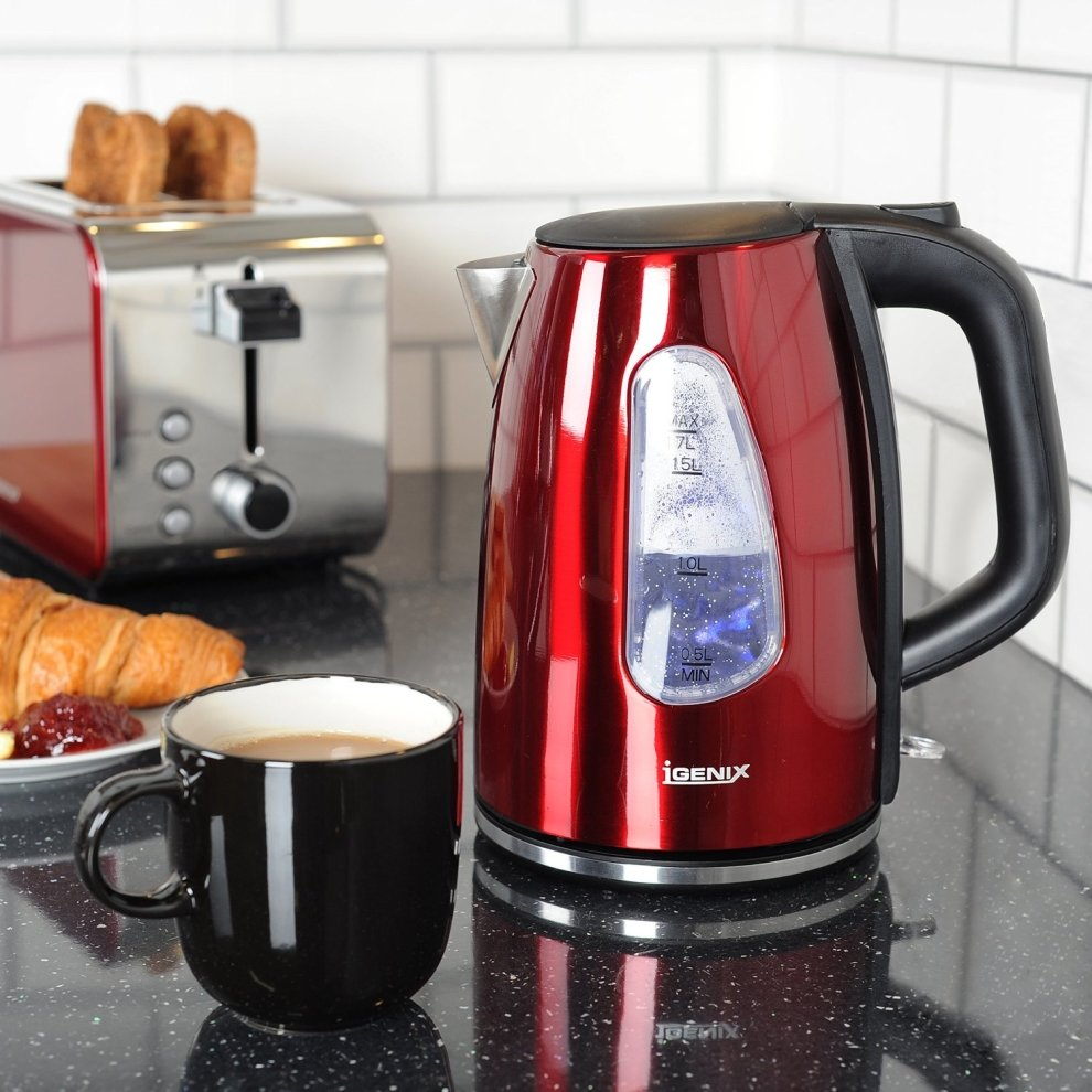 f9498e4aa4b0 ... Igenix IGPK10 Breakfast Set Kettle and 2 Slice Toaster - Metallic Red -  4. >