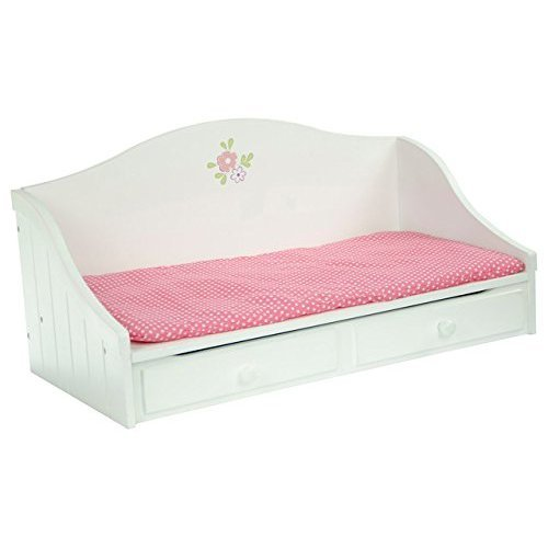Olivias Little World - Princess White Troundle Bed   Wooden 18 inch Doll Furniture