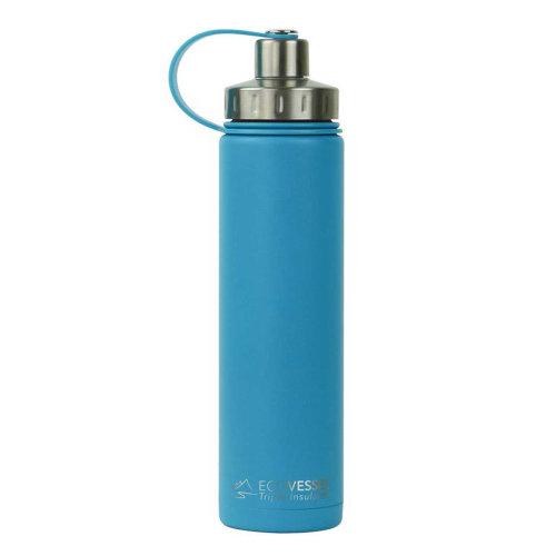 Ecovessel Boulder 700ml Hot Cold Drinks Water Bottle & Strainer  Hudson Blue