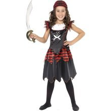 Large Children's Pirate Girl Costume -  costume pirate fancy dress skull crossbones girl girls gothic book outfit child kids week
