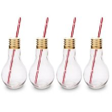 9c89b5efcbe4 CKB Ltd® Pack of 4 Edison Light Bulb Novelty Drinking Glasses With Straw  400ml - Ideal for Soft Drinks