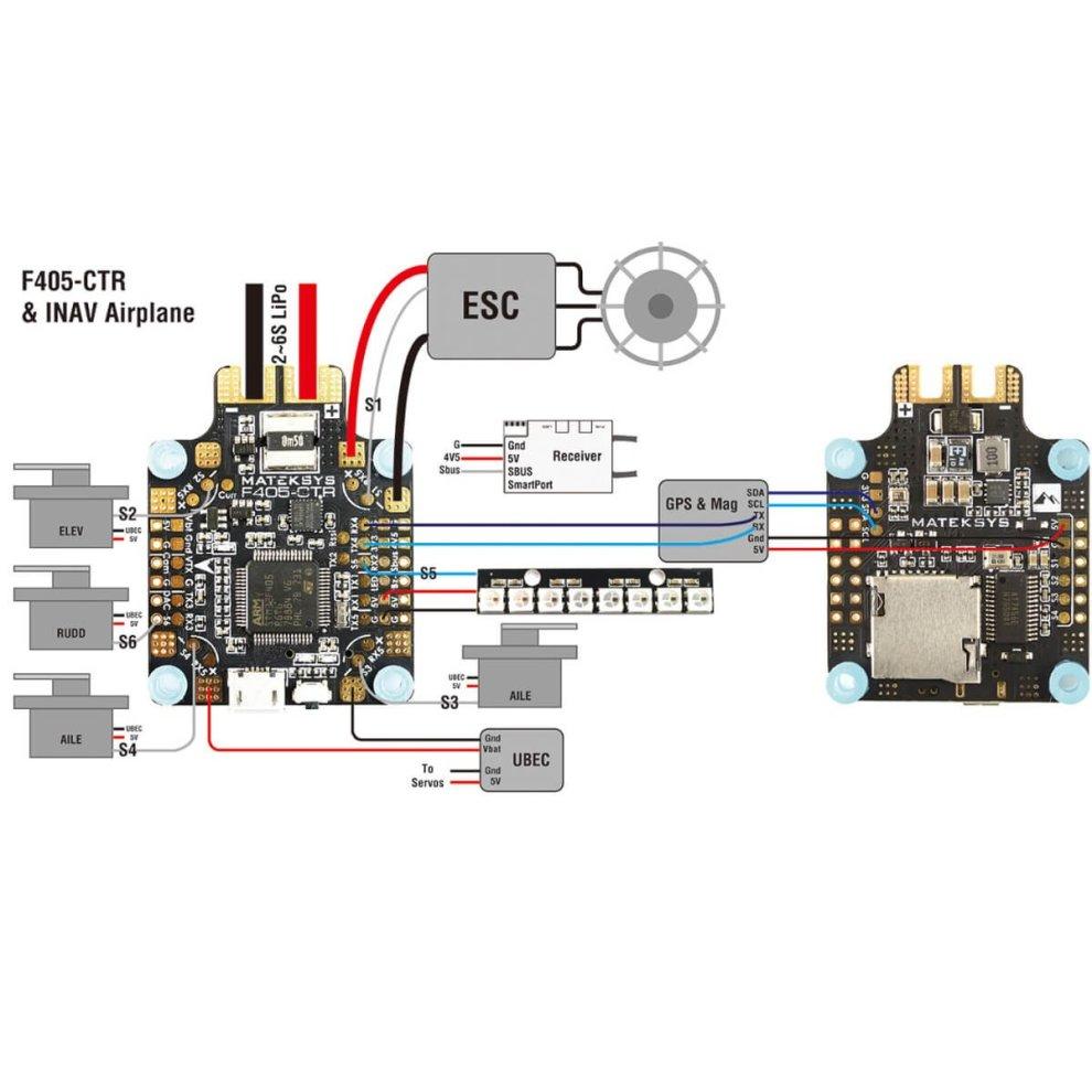 Matek AIO F4 Flight Controller ( Intergreted PDB 4*30A , Bateflight OSD ,  BEC 5V/2A , SD Card Slot , VCP+5x UARTs , Current Sensor 184A ) for FPV