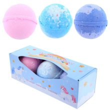 Handmade Bath Bomb Set of 3 - Sweet Scents in Unicorn Gift Box