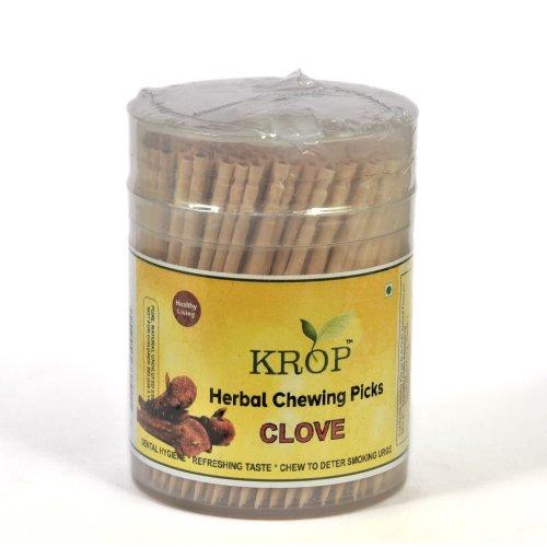KROP Herbal Chewing Picks - 300 Sticks (Clove Flavoured Toothpicks)