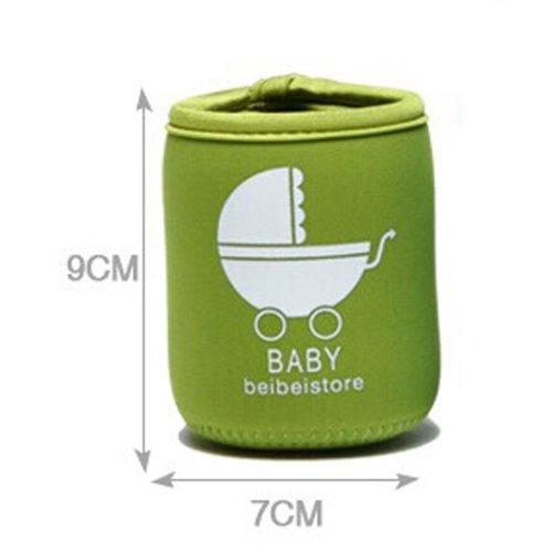 Set Of 2 Feeder Milk Bottle Deading Warm Keep Pretecter Bag (9*7CM)/Green