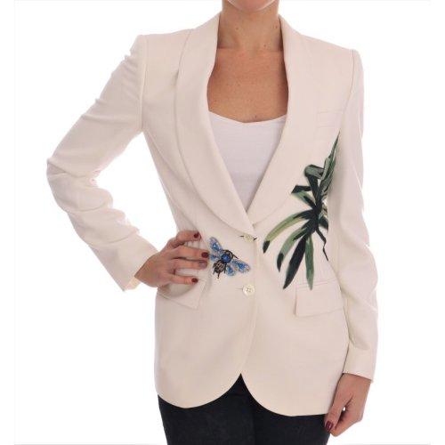 Dolce & Gabbana White Wool Crystal Blazer Jacket