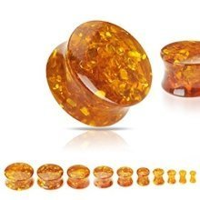 Synthetic Bee Amber Solid Ear Tunnel Saddle Plug Piercing Finest Quality Materials