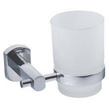 Bathroom Chrome Toothbrush Cup Holder Mug Set Wall Mounted Tumbler