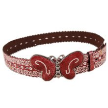 Women Fashion Floral Belt  Decorative Belt Butterfly Belt Buckle [Burgundy]
