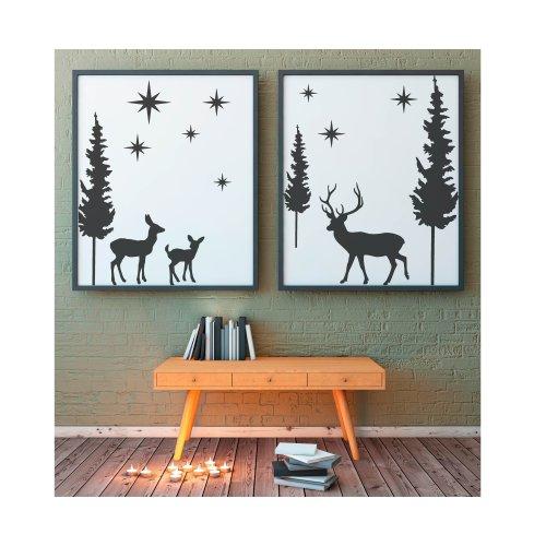Stag Forest Stencil Set