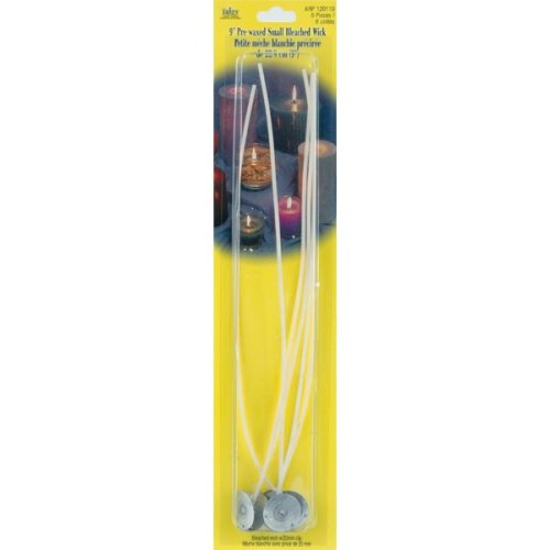 """Pre-Waxed Wicks W/Clips 9"""" 6/Pkg-Small Bleached"""