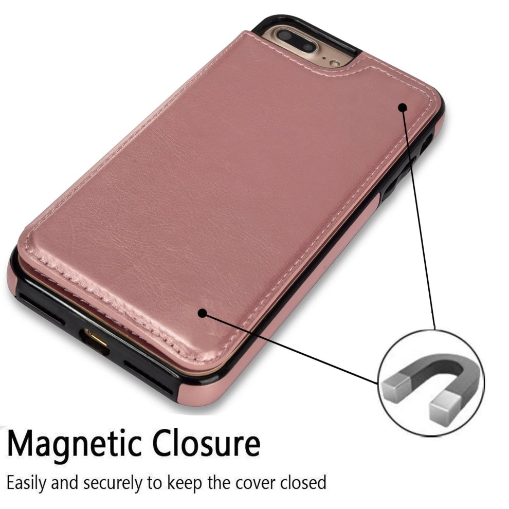 quality design 009ba 6f134 UEEBAI Case for iPhone 7 Plus iPhone 8 Plus, Luxury PU Leather Case with  [Two Magnetic Clasp] [Card Slots] Stand Function Durable Shockproof Soft...
