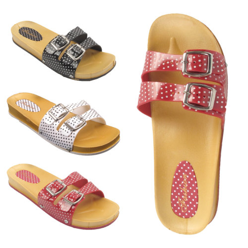 Slides Sandals Dots Ladies Buckle Amy Polka LAR45j