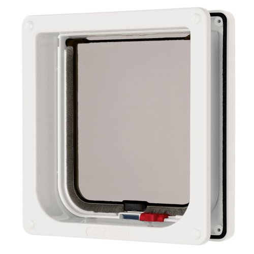 Lockable Cat Flap & Liner White 16.5x17.4cm