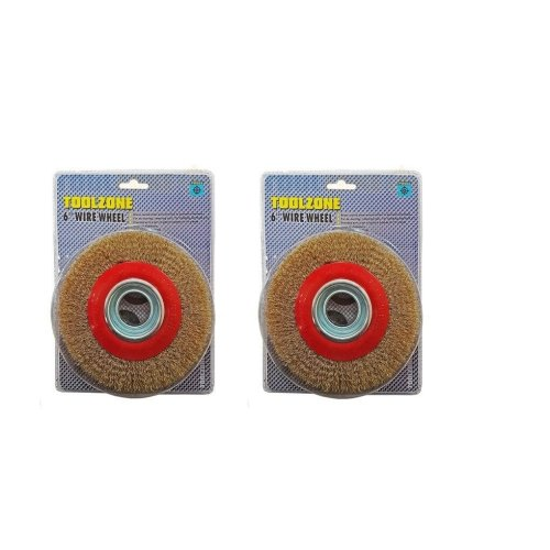 """TWO Heavy Duty Wire Wheel For Bench Grinder Brass Coated 6"""" 150mm With Reducers"""