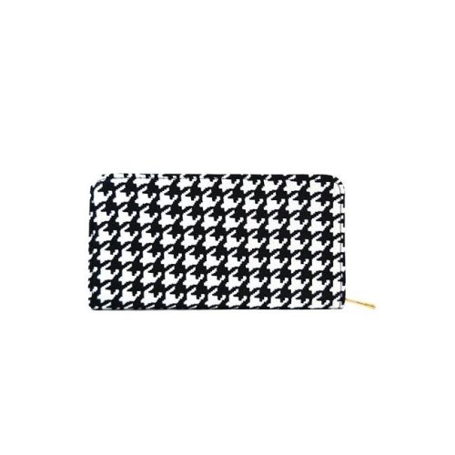 NuPouch 2007 Womens Wallet Purse Black & White Houndstooth