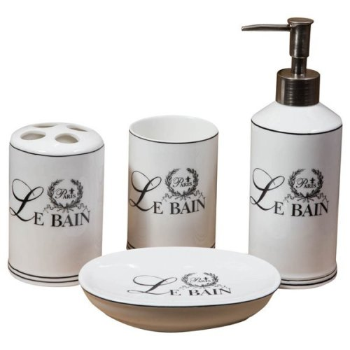"4 Pieces  White Porcelain Decorated""le Bain Paris"" Bathroom Set W25xdp10xh21 Cm Sized"