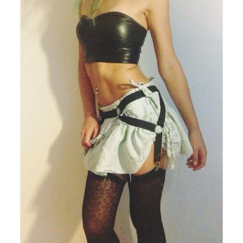 2016 new pastel goth elastic garter belt gothic bust bondage  Rave wear Binding sexy women cage  lingerie black retail