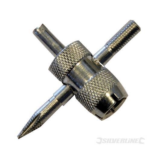 4 Way Tyre Valve Repair Tool - Silverline 380153 -  valve repair tyre tool silverline way 4 380153