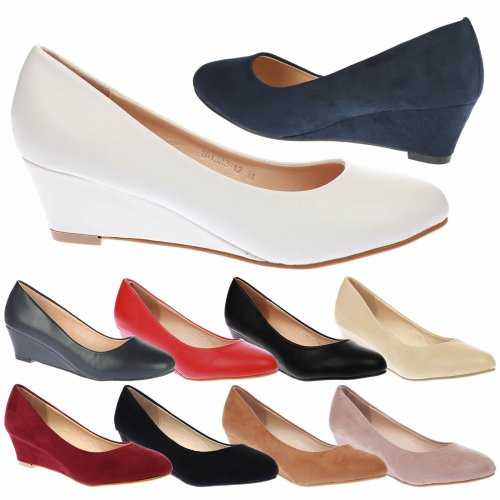 Wendy Womens Low Wedge Heel Slip On Smart Court Shoes