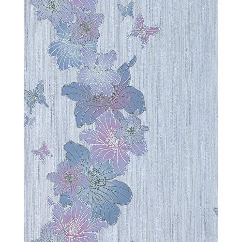 EDEM 108-34 vinyl wallpaper floral flowers butterfly lilac blue violet 5.33 sqm
