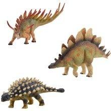 deAO Dinosaur Figures with Realistic design SET of 3: Kentrosaurus + Ankylosaurus + Stegosaurus
