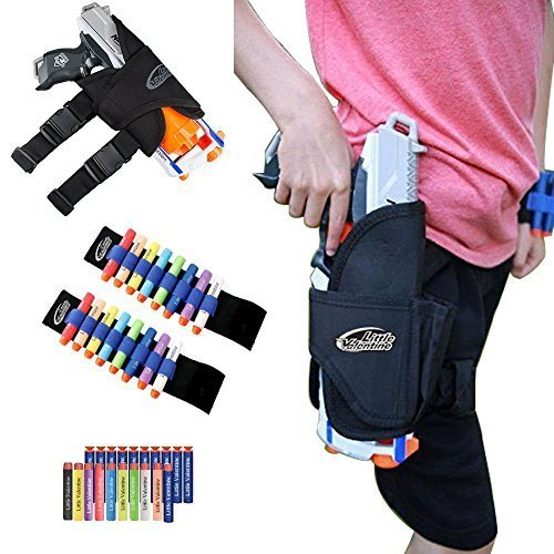 Little Valentine Kids Tactical Waist-bag and 2 Darts Wristers with 10 Blue Suction Darts and 10 Different Colors Darts for Nerf N-strike Elite Series