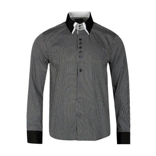 Victory Eagle Men's VT560 Long Sleeved Pinstripe Shirt Black