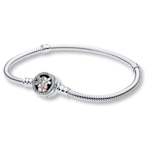 Pandora Moments Silver Bracelet with Poetic Blooms Clasp - 20 cm - 590744CZ-20