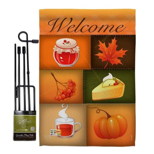 Breeze Decor BD-HA-GS-113050-IP-BO-D-US14-BD 13 x 18.5 in. Scents of Harvest Fall & Autumn Vertical Double Sided Mini Garden Flag Set with Banner Pole