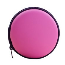 Portable PU Leather Earbuds Case Earphone Holder Earbud Pouch Coins Bag, Pink