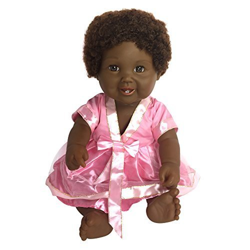 Black African American Baby Doll With Afro Hair | Tall 18 Toy Doll With Cute Dress | Fits Girl Clothes &amp Accessories