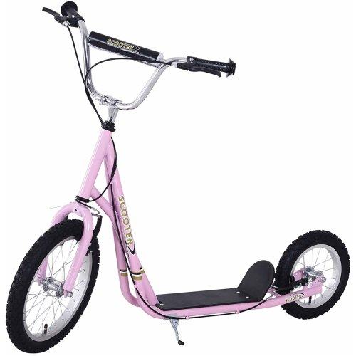 (Pink) Homcom Children's V-Front Push Kick Scooter