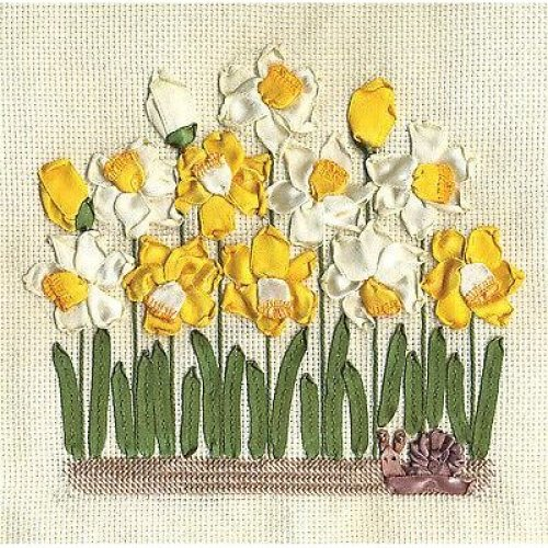 Panna Ribbon Embroidery & Cross Stitch Kit - Daffodils C-1072