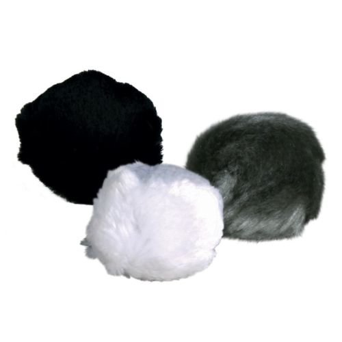 140 Plush Balls With Bell, Ø 3cm - Bell Trixie 412 Cat -  3 plush balls bell trixie 4123 cm cat