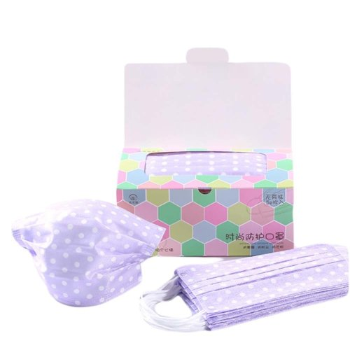 Pack Of 50 Cute Print Non-woven Fabric Disposable Earloop Face Mask